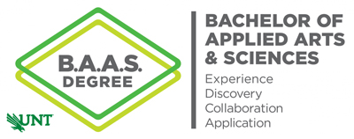Bachelor of Applied Arts & Sciences at UNT Logo with text progrom values: experience, discovery, collaboration, and application.